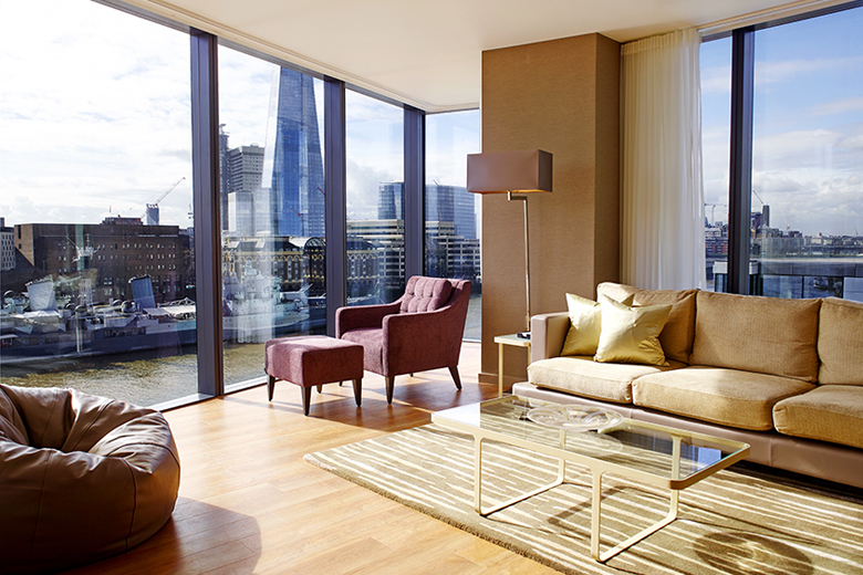 A stylish lounge which overlooks The Shard and the Thames