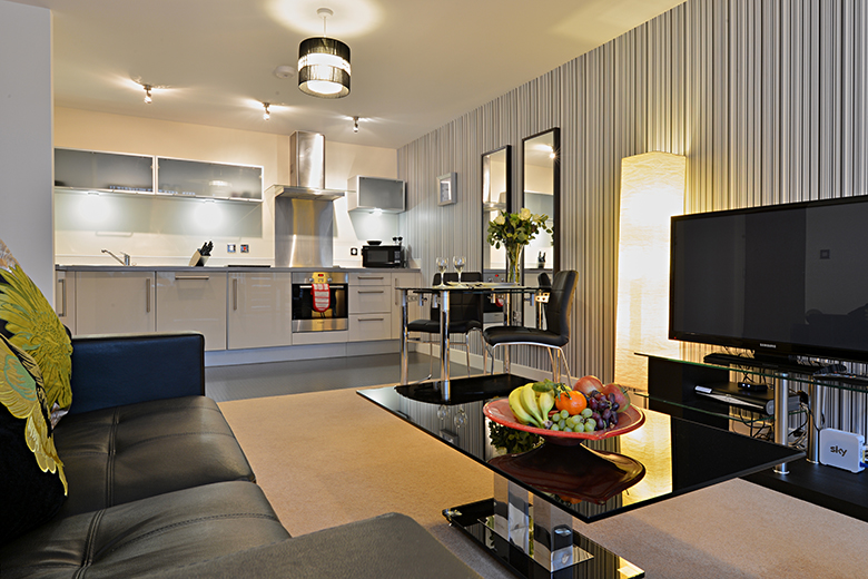 A bright open plan kitchen and living area