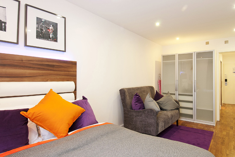 A typical bedroom and living area at Go Native Camden Road