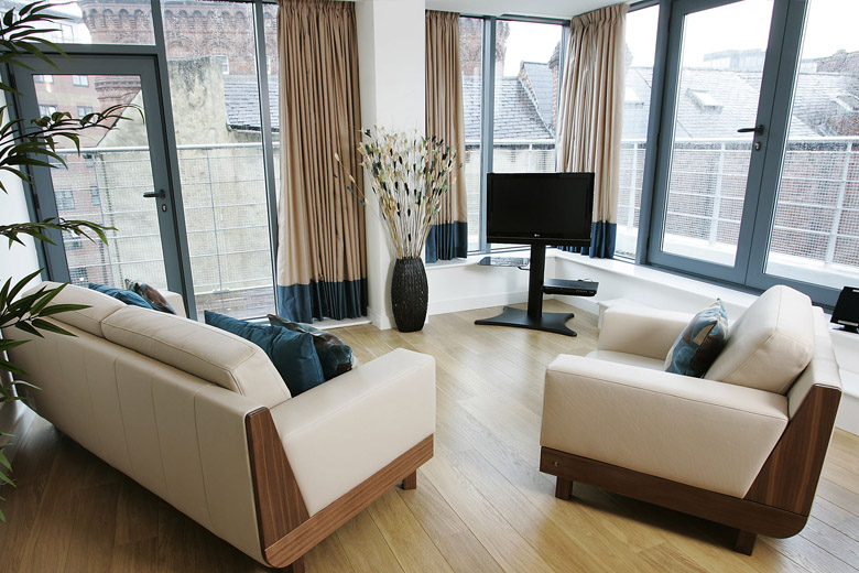One of the spacious and relaxing lounge areas at Waterloo Court
