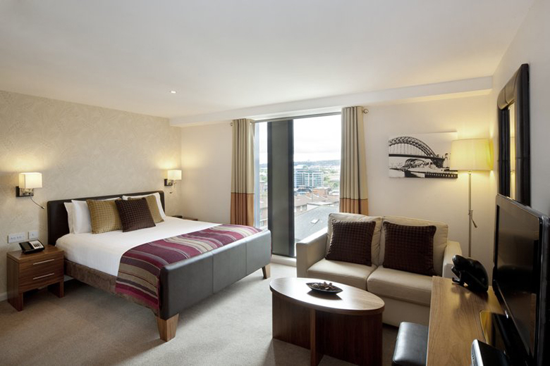 One of the spacious, comfortable bedrooms