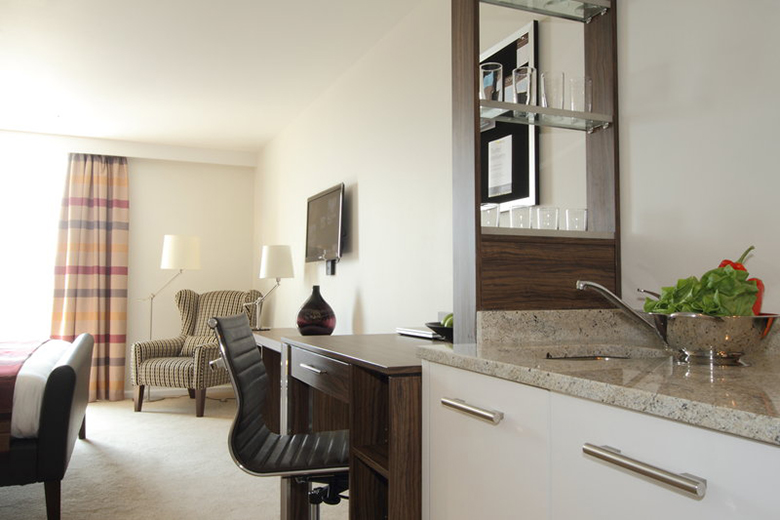 A typical bright and comfortable open plan studio apartment at Staybridge Stratford East