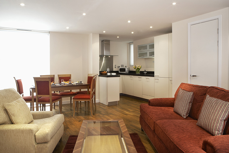 One of the bright and spacious open plan kitchen, dining, and living areas at Canary South