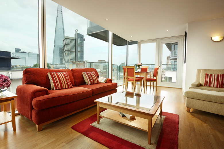 A stylish lounge area with amazing views over London at Empire Square