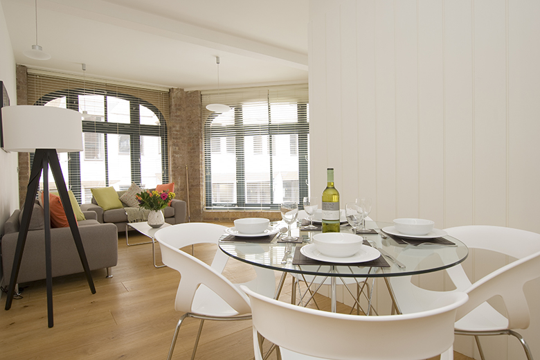 A contemporary, exciting dining area at Arne Street Apartments