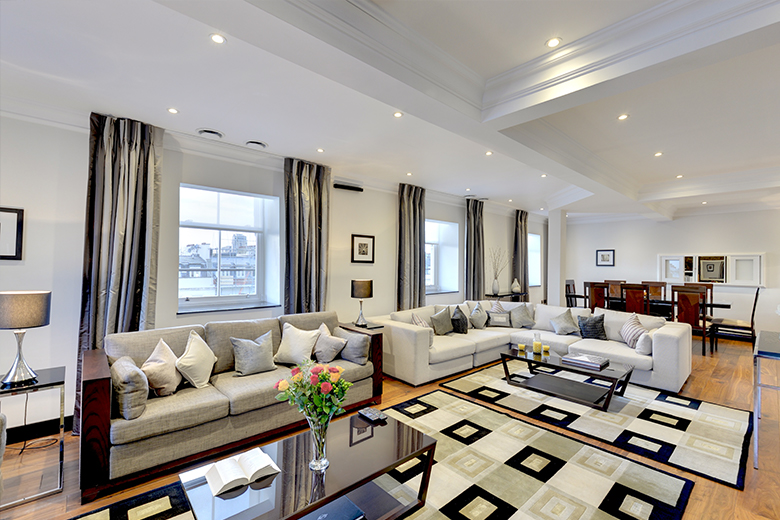 One of the spacious and comfortable lounges at 130 Queen's Gate