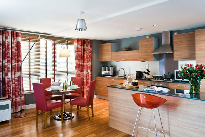 A chic open-plan kitchen and dining area