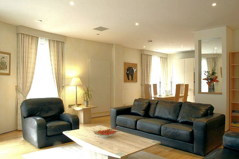 A lovely spacious living area in the palatial penthouse apartment