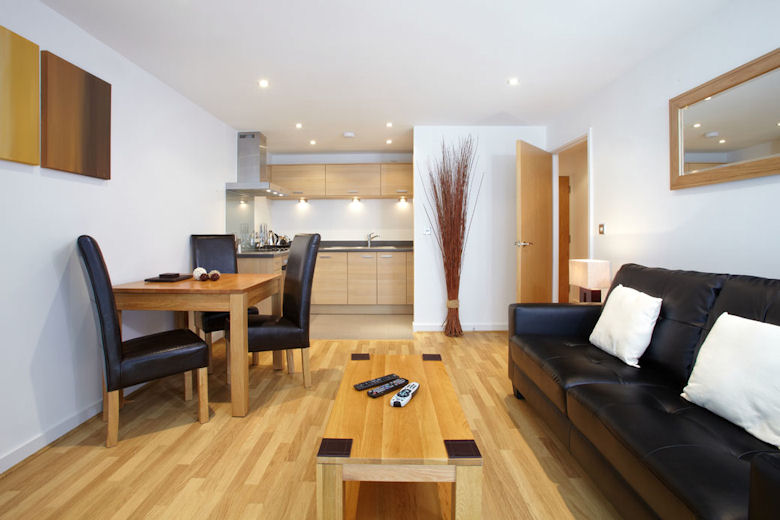 An open-plan living and dining area