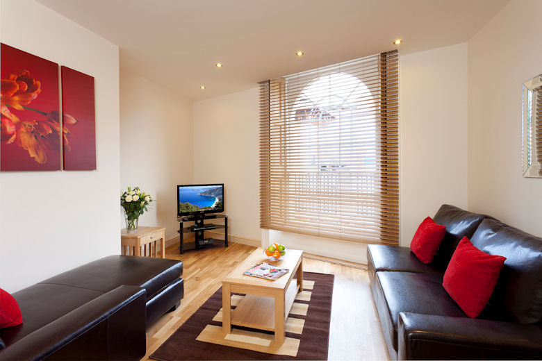 A beautifully decorated living area at Queens Road Apartments