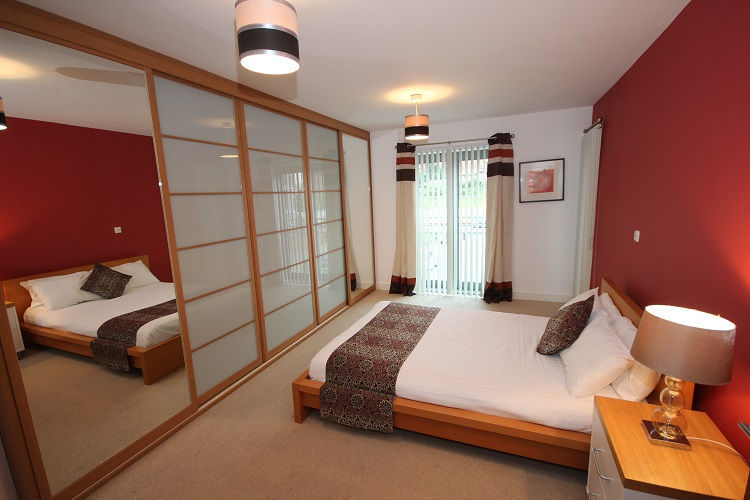 A spacious double bedroom