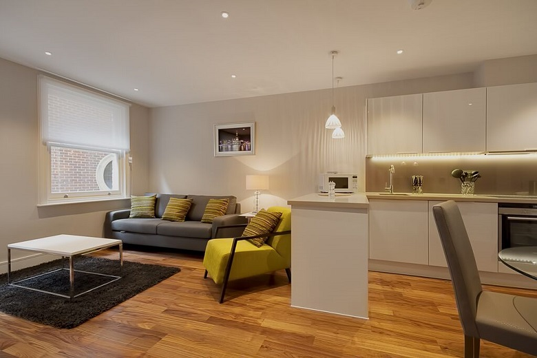 A spacious open-plan living room and kitchen