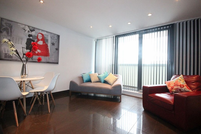 A gorgeous, well decorated living area in an executive two bedroom apartment