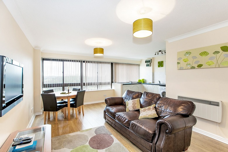 A bright living area at South Row Apartments